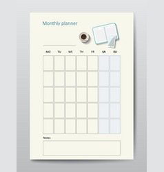business planner calendar template monthly vector image