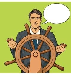 Businessman and ship steering wheel pop art vector