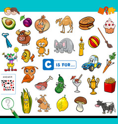 C is for educational game for children vector
