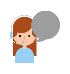 Call center agent with speech bubble avatar vector