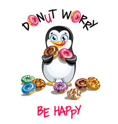cartoon penguin with donuts vector image