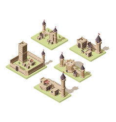 Castles low poly video game isometric assets vector