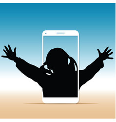 child silhouette with on cellphone vector image