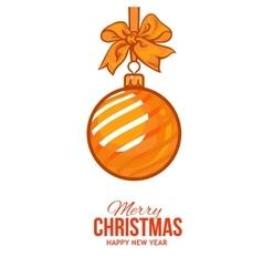 Christmas balls with gold ribbon and bows vector