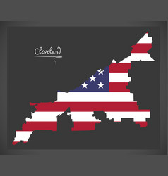 Cleveland ohio map with american national flag vector