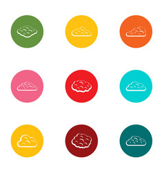 cloudlet icons set flat style vector image