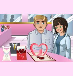 couple choosing wedding invitation card vector image