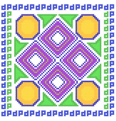 Cross stitch embroidery geometrical design for vector