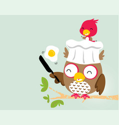 Cute birds cartoon with funny cooking owl vector