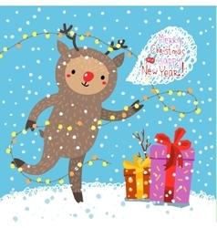 Cute deer Greeting card vector image