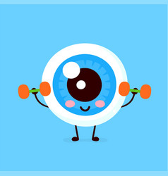 cute happy smiling eye doing exercises vector image