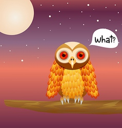 Cute Owl on night sky vector