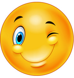 Cute smiling and winking emoticon vector