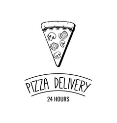 Delicious pizza slice pizza delivery logo emblem vector