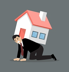 Desperate businessman carry a heavy home vector image