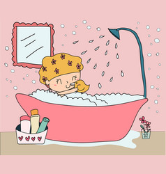 Doodle hand drawn happy girl take shower in vector