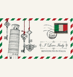 envelope or postcard with pisa tower vector image