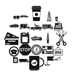 filling station icons set simple style vector image