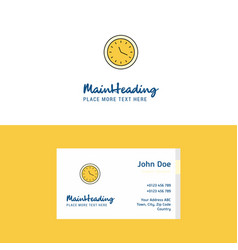 flat clock logo and visiting card template vector image