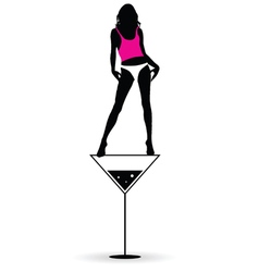Girl stand on martini silhouette vector