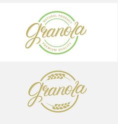 Granola hand written lettering logo vector