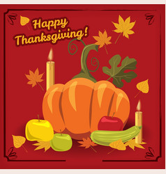 happy thanksgiving card gala dinner pumpkin vector image