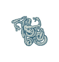 Hercules Fighting Hydra Club Etching vector