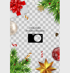 Holiday photo frame template merry christmas vector