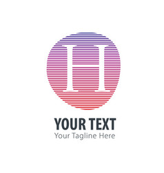 initial letter h abstract line logo style vector image