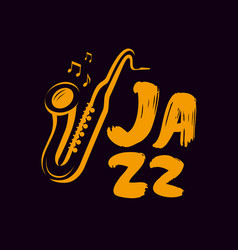 Jazz logo or label live music saxophone blues vector