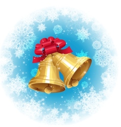 Jingle bells with red bow on winter background vector image