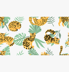 jungle cats pattern vector image