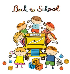 Kids and School Bus back to School vector image