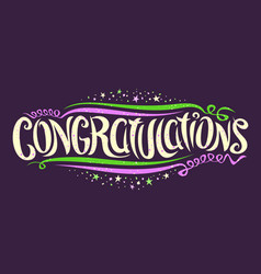 Lettering for congratulations wishes vector