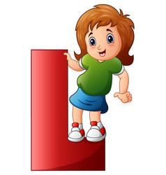 little girl holding letters l vector image