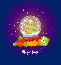 magic time christmas with snow globe vector image