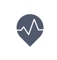 map location icon with heart beat or pulse vector image