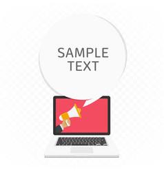 megaphone in screen laptop vector image