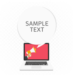 megaphone in screen of laptop vector image