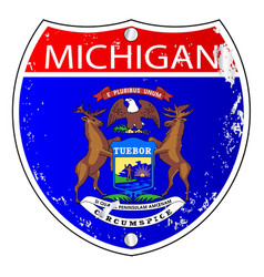 Michigan flag icons as interstate sign vector
