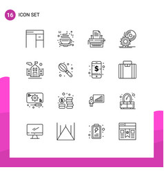 Modern set 16 outlines and symbols such as dvd vector