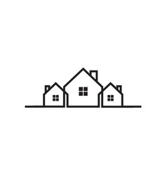 mono line real estate house logo icon design vector image
