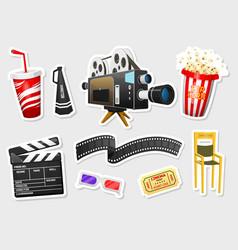 movie stickers vintage cinema entertainment vector image