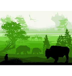 Nature with wild animals Musk ox bear Gopher deer vector