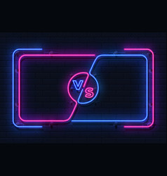 neon versus banner game battle glowing frame vector image