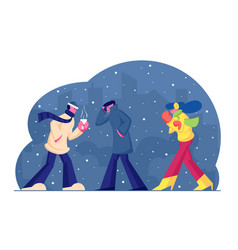 people in warm clothes walking on street in cold vector image