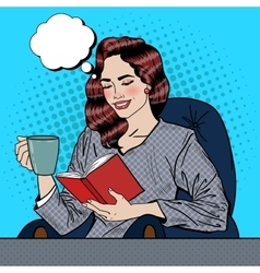 Pop art woman reading book and drinking coffee vector