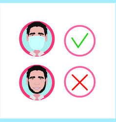 Proper choice wear protective mask image a ma vector