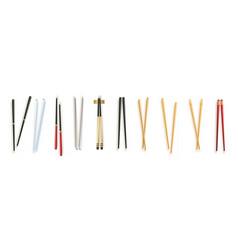 Realistic 3d food chopsticks set different types vector
