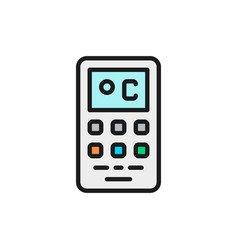 Remote control air conditioner flat color line vector